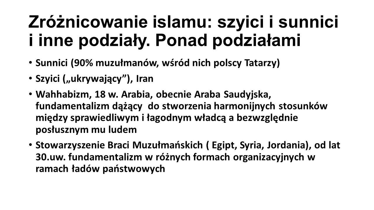 """Zróżnicowanie islamu: szyici i sunnici i inne podziały. Ponad podziałami Sunnici (90% muzułmanów, wśród nich polscy Tatarzy) Szyici (""""ukrywający""""), Ir"""