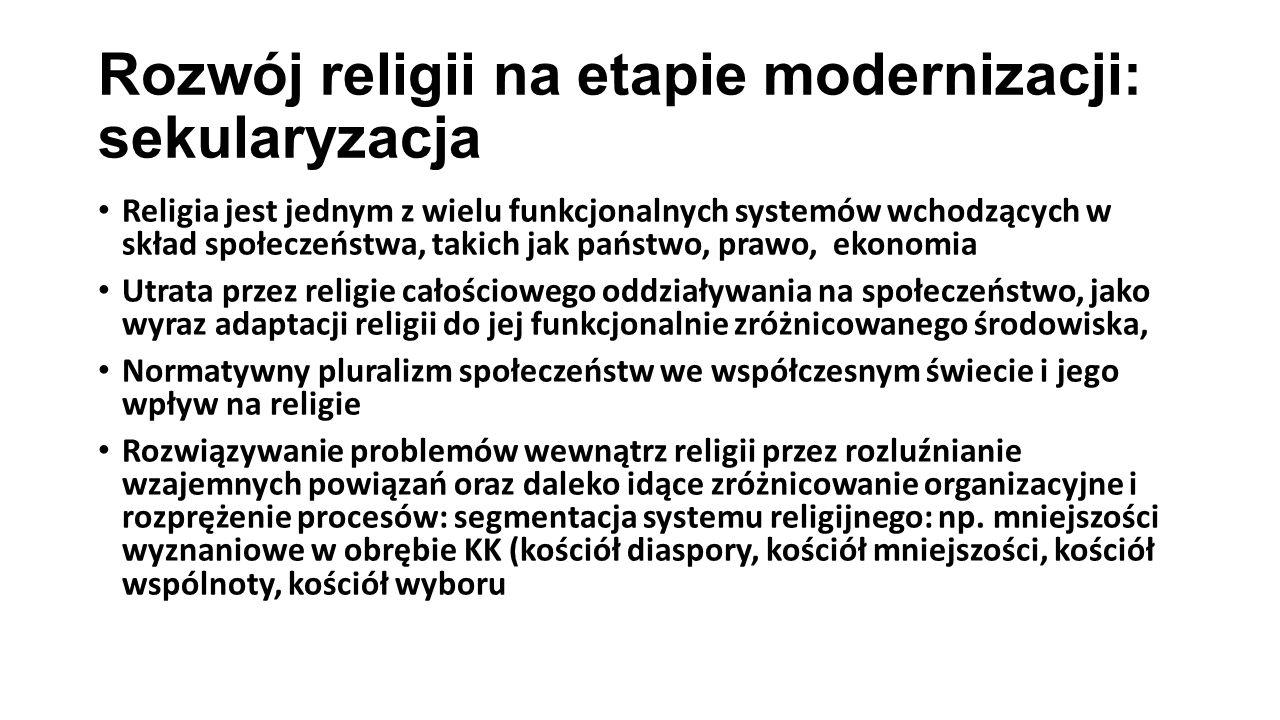 Rozwój religii na etapie modernizacji: sekularyzacja Religia jest jednym z wielu funkcjonalnych systemów wchodzących w skład społeczeństwa, takich jak