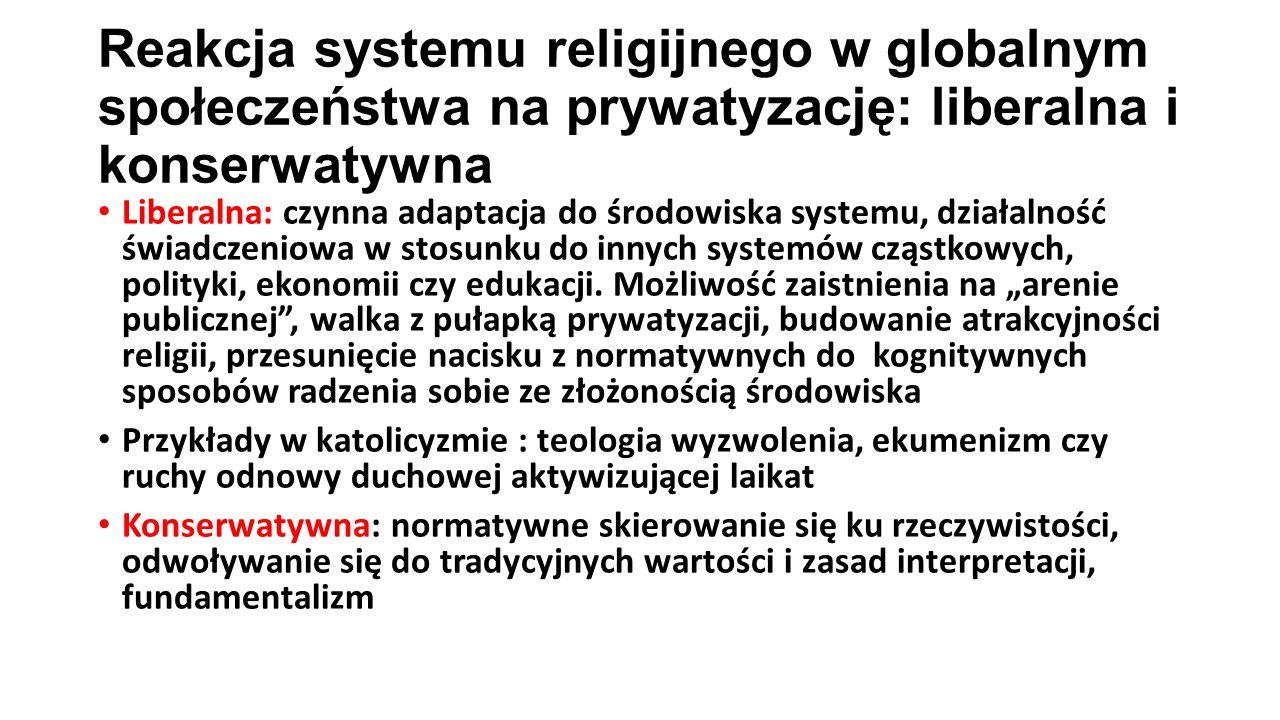Reakcja systemu religijnego w globalnym społeczeństwa na prywatyzację: liberalna i konserwatywna Liberalna: czynna adaptacja do środowiska systemu, działalność świadczeniowa w stosunku do innych systemów cząstkowych, polityki, ekonomii czy edukacji.