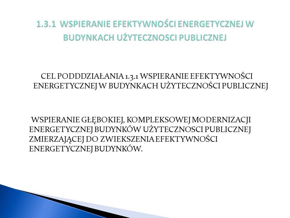 CEL PODDDZIAŁANIA 1.3.1 WSPIERANIE EFEKTYWNOŚCI ENERGETYCZNEJ W BUDYNKACH UŻYTECZNOŚCI PUBLICZNEJ WSPIERANIE GŁĘBOKIEJ, KOMPLEKSOWEJ MODERNIZACJI ENERGETYCZNEJ BUDYNKÓW UŻYTECZNOSCI PUBLICZNEJ ZMIERZAJĄCEJ DO ZWIEKSZENIA EFEKTYWNOŚCI ENERGETYCZNEJ BUDYNKÓW.