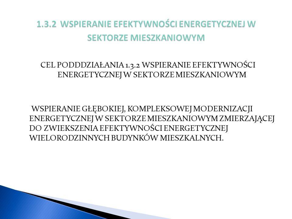 CEL PODDDZIAŁANIA 1.3.2 WSPIERANIE EFEKTYWNOŚCI ENERGETYCZNEJ W SEKTORZE MIESZKANIOWYM WSPIERANIE GŁĘBOKIEJ, KOMPLEKSOWEJ MODERNIZACJI ENERGETYCZNEJ W SEKTORZE MIESZKANIOWYM ZMIERZAJĄCEJ DO ZWIEKSZENIA EFEKTYWNOŚCI ENERGETYCZNEJ WIELORODZINNYCH BUDYNKÓW MIESZKALNYCH.