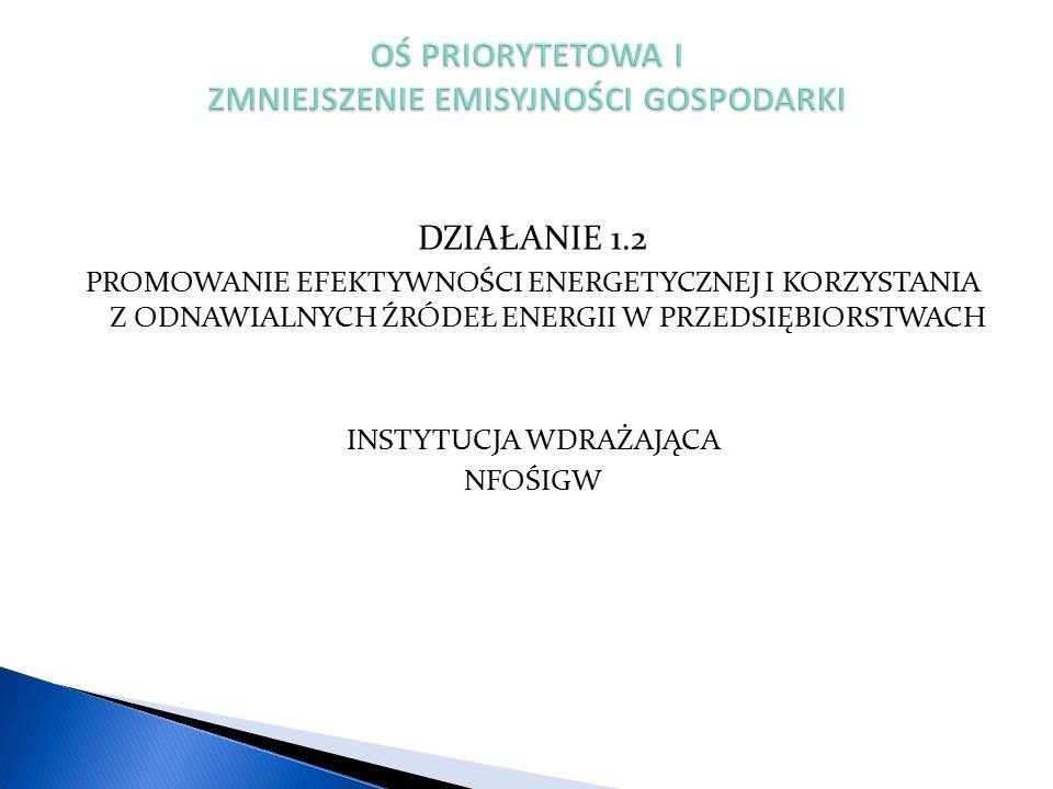 DZIAŁANIE 1.2 PROMOWANIE EFEKTYWNOŚCI ENERGETYCZNEJ I KORZYSTANIA Z ODNAWIALNYCH ŹRÓDEŁ ENERGII W PRZEDSIĘBIORSTWACH INSTYTUCJA WDRAŻAJĄCA NFOŚIGW