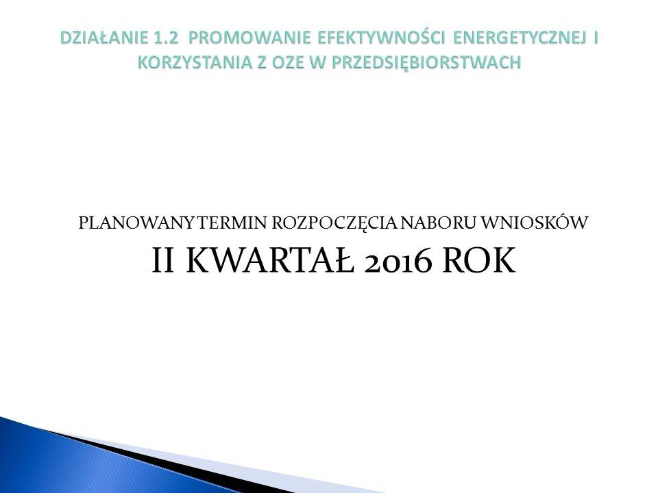 PLANOWANY TERMIN ROZPOCZĘCIA NABORU WNIOSKÓW II KWARTAŁ 2016 ROK