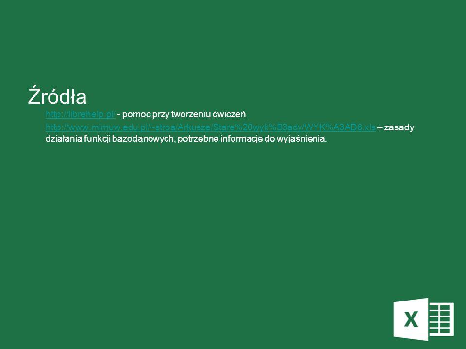 Źródła http://librehelp.pl/ - pomoc przy tworzeniu ćwiczeń http://librehelp.pl/ http://www.mimuw.edu.pl/~stroa/Arkusze/Stare%20wyk%B3ady/WYK%A3AD6.xls