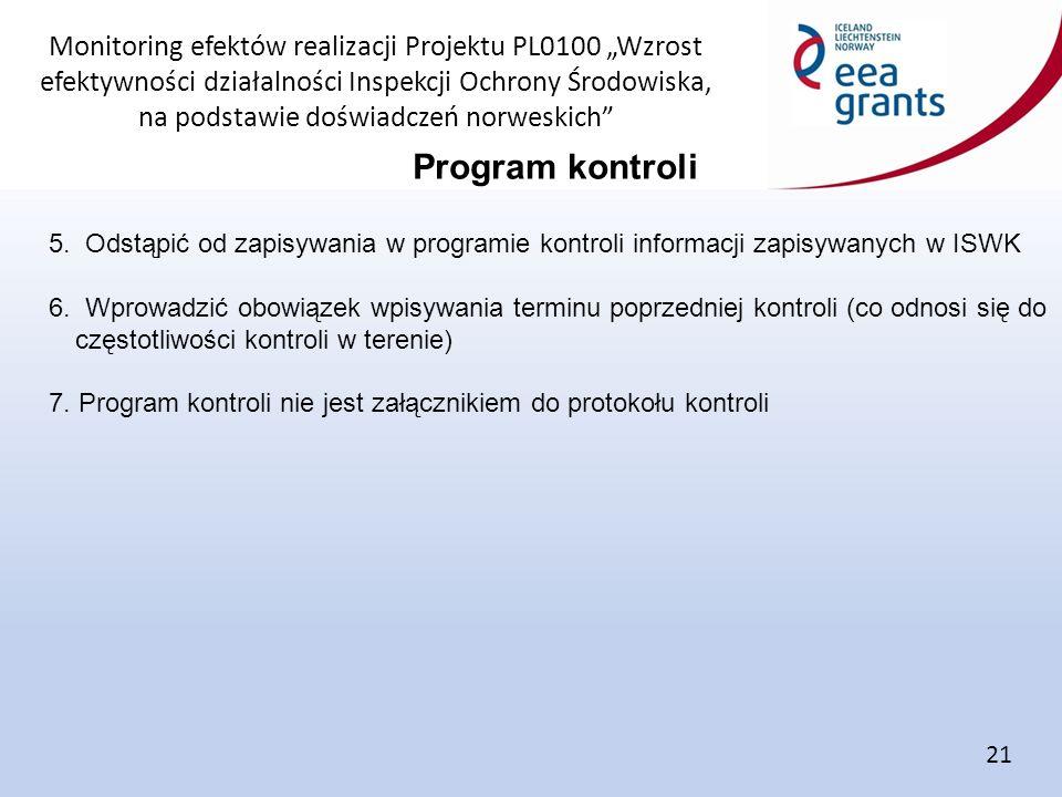 """Monitoring efektów realizacji Projektu PL0100 """"Wzrost efektywności działalności Inspekcji Ochrony Środowiska, na podstawie doświadczeń norweskich Program kontroli 21 5."""