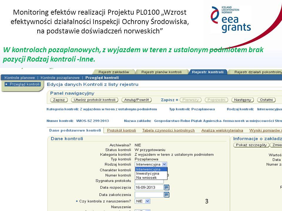 """Monitoring efektów realizacji Projektu PL0100 """"Wzrost efektywności działalności Inspekcji Ochrony Środowiska, na podstawie doświadczeń norweskich Dodać rodzaj kontroli """"Pozaplanowe inne umożliwiający wybór właściwego typu kontroli pozaplanowej w przypadku kontroli innej niż interwencyjna, inwestycyjna lub na wniosek."""