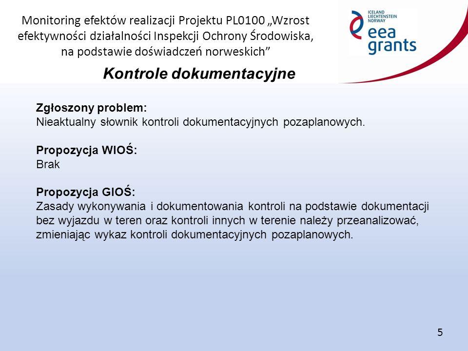 """Monitoring efektów realizacji Projektu PL0100 """"Wzrost efektywności działalności Inspekcji Ochrony Środowiska, na podstawie doświadczeń norweskich Kontrole dokumentacyjne 5 Zgłoszony problem: Nieaktualny słownik kontroli dokumentacyjnych pozaplanowych."""