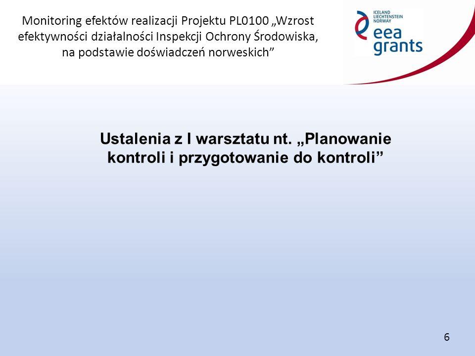 """Monitoring efektów realizacji Projektu PL0100 """"Wzrost efektywności działalności Inspekcji Ochrony Środowiska, na podstawie doświadczeń norweskich Ustalenia z I warsztatu nt."""