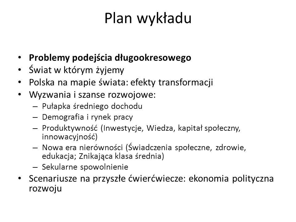 Plan wykładu Problemy podejścia długookresowego Świat w którym żyjemy Polska na mapie świata: efekty transformacji Wyzwania i szanse rozwojowe: – Puła