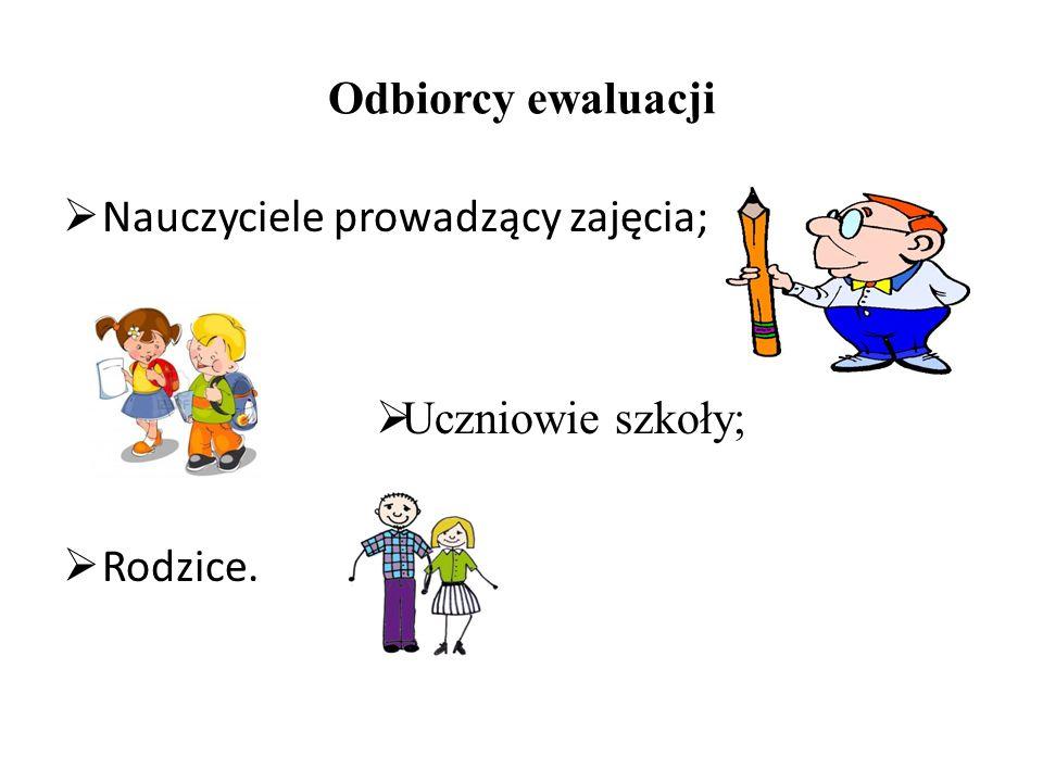 Odbiorcy ewaluacji  Nauczyciele prowadzący zajęcia;  Uczniowie szkoły;  Rodzice.