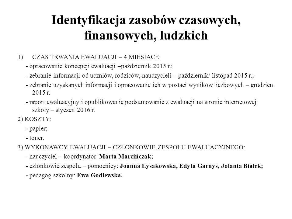 Identyfikacja zasobów czasowych, finansowych, ludzkich 1)CZAS TRWANIA EWALUACJI – 4 MIESIĄCE: - opracowanie koncepcji ewaluacji –październik 2015 r.;