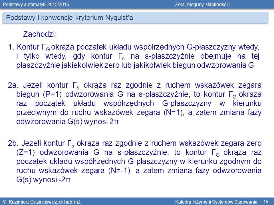 © Kazimierz Duzinkiewicz, dr hab. inż. Katedra Inżynierii Systemów Sterowania Podstawy automatyki 2015/2016 Zera, bieguny, stabilność II 15 1. Kontur