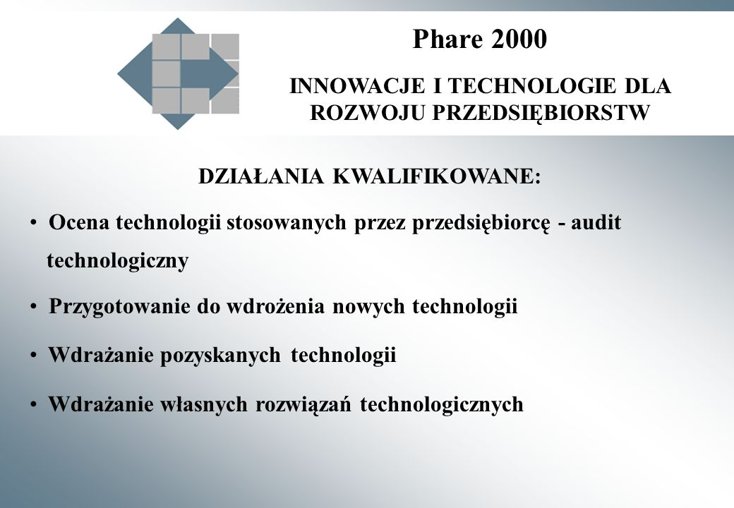 DZIAŁANIA KWALIFIKOWANE: Ocena technologii stosowanych przez przedsiębiorcę - audit technologiczny Przygotowanie do wdrożenia nowych technologii Wdrażanie pozyskanych technologii Wdrażanie własnych rozwiązań technologicznych Phare 2000 INNOWACJE I TECHNOLOGIE DLA ROZWOJU PRZEDSIĘBIORSTW