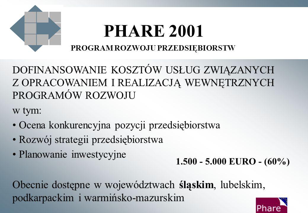 PHARE 2001 PROGRAMY DLA MSP OD CZERWCA 2003 ROKU DOSTĘPNE WE WSZYSTKICH 16 WOJEWÓDZTWACH Fundusz Dotacji Inwestycyjnych dla ~ 700-900 firm Program Rozwoju Firmy dla ~ 800 firm Program Rozwoju Firm dla Eksporterów dla ~ 400 firm Program Rozwoju Firm Internetowych dla ~ 400 firm 2001