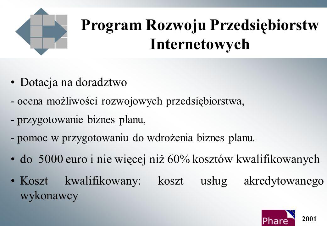 Program Rozwoju Przedsiębiorstw Internetowych Dotacja na doradztwo - ocena możliwości rozwojowych przedsiębiorstwa, - przygotowanie biznes planu, - pomoc w przygotowaniu do wdrożenia biznes planu.