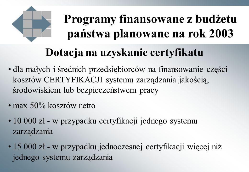 Programy finansowane z budżetu państwa planowane na rok 2003 Dotacja na uzyskanie certyfikatu dla małych i średnich przedsiębiorców na finansowanie części kosztów CERTYFIKACJI systemu zarządzania jakością, środowiskiem lub bezpieczeństwem pracy max 50% kosztów netto 10 000 zł - w przypadku certyfikacji jednego systemu zarządzania 15 000 zł - w przypadku jednoczesnej certyfikacji więcej niż jednego systemu zarządzania
