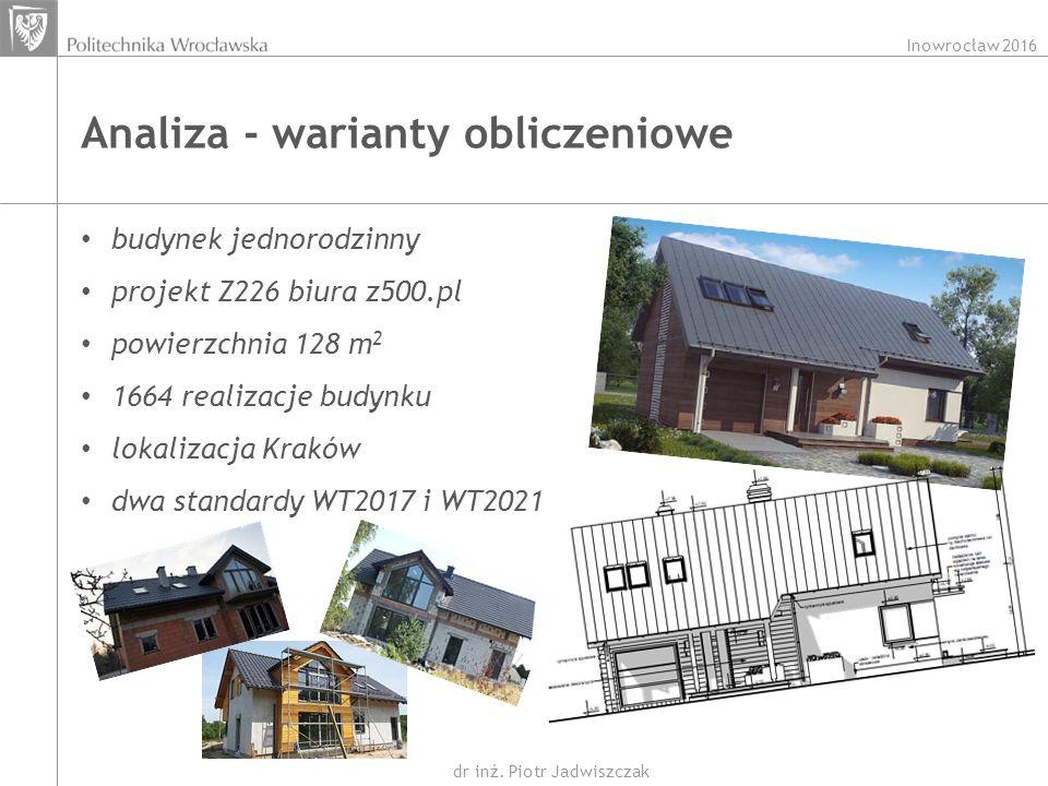 Inowrocław 2016 dr inż. Piotr Jadwiszczak Analiza - warianty obliczeniowe budynek jednorodzinny projekt Z226 biura z500.pl powierzchnia 128 m 2 1664 r