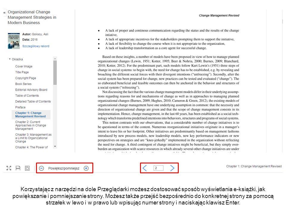 Korzystając z narzędzi na dole Przeglądarki możesz dostosować sposób wyświetlania e-książki, jak powiększanie i pomniejszanie strony. Możesz także prz