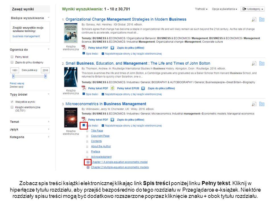 Po kliknięciu w link Pełny tekst PDF lub EPUB na liście wyników, książka otwiera się w Przeglądarce e-książek.