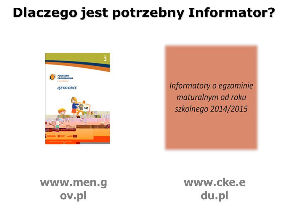 Dlaczego jest potrzebny Informator www.men.g ov.pl www.cke.e du.pl