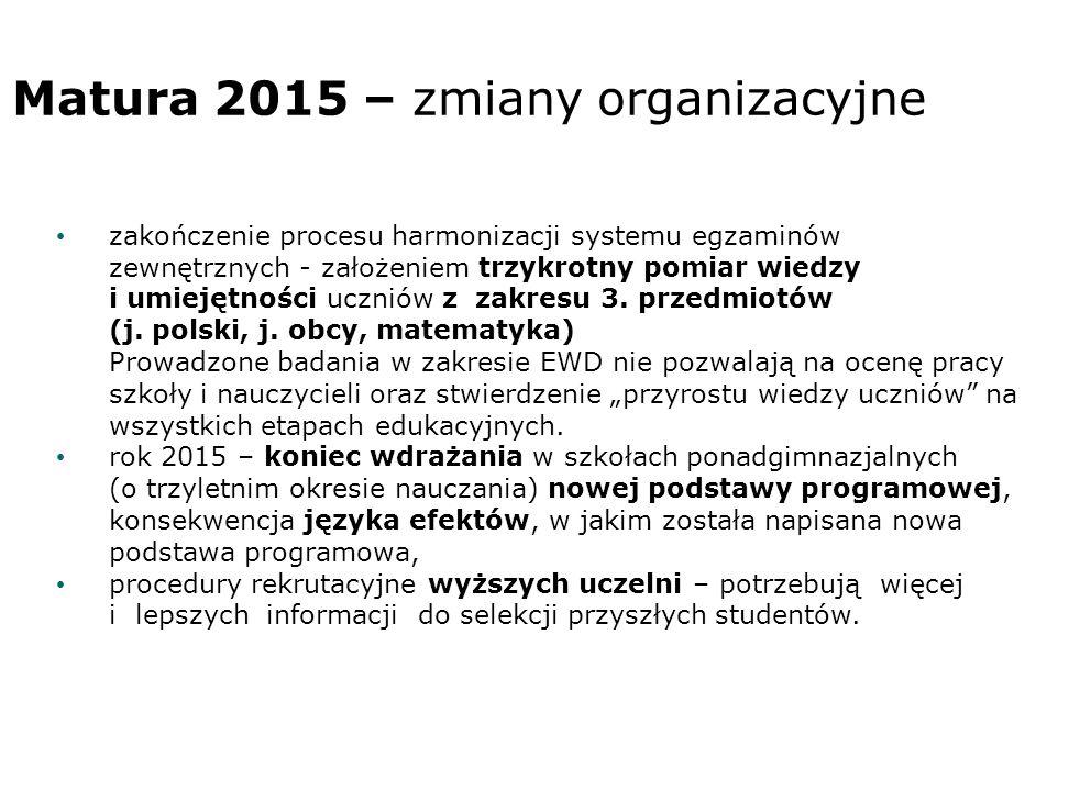 Matura 2015 – zmiany organizacyjne zakończenie procesu harmonizacji systemu egzaminów zewnętrznych - założeniem trzykrotny pomiar wiedzy i umiejętności uczniów z zakresu 3.