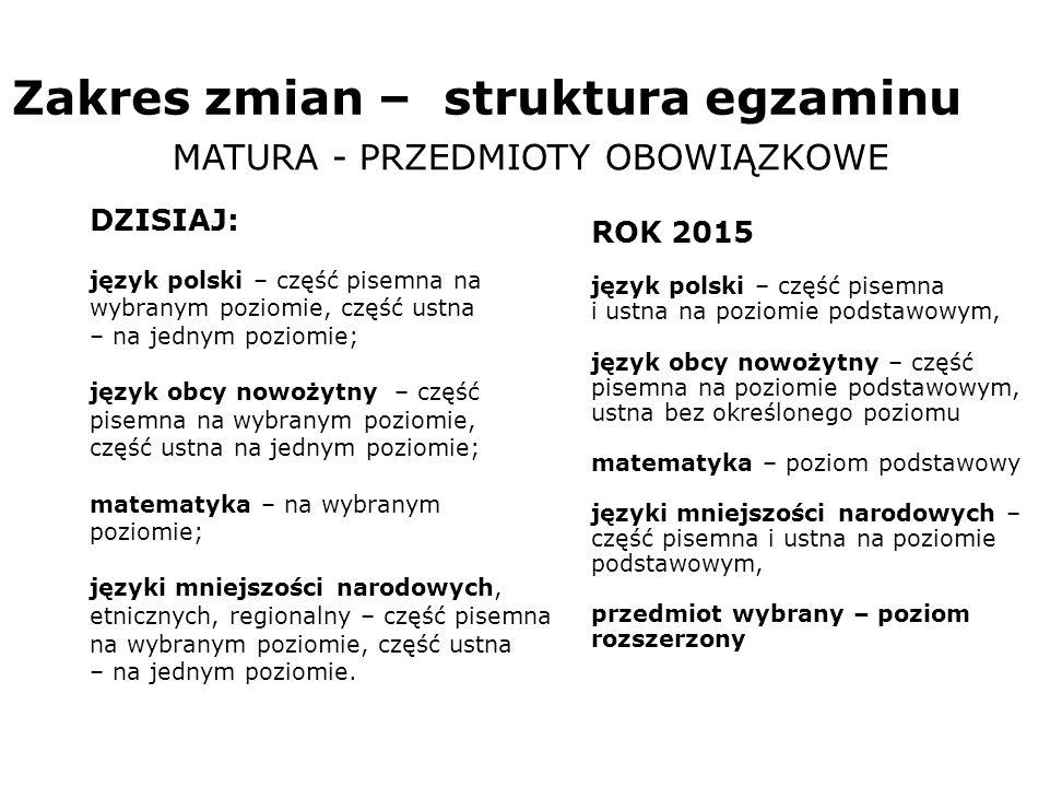 Zakres zmian – struktura egzaminu MATURA - PRZEDMIOTY OBOWIĄZKOWE DZISIAJ: język polski – część pisemna na wybranym poziomie, część ustna – na jednym poziomie; język obcy nowożytny – część pisemna na wybranym poziomie, część ustna na jednym poziomie; matematyka – na wybranym poziomie; języki mniejszości narodowych, etnicznych, regionalny – część pisemna na wybranym poziomie, część ustna – na jednym poziomie.