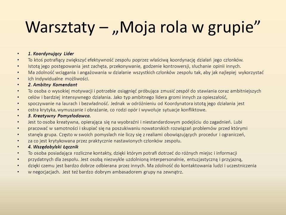 """Warsztaty – """"Moja rola w grupie 1."""