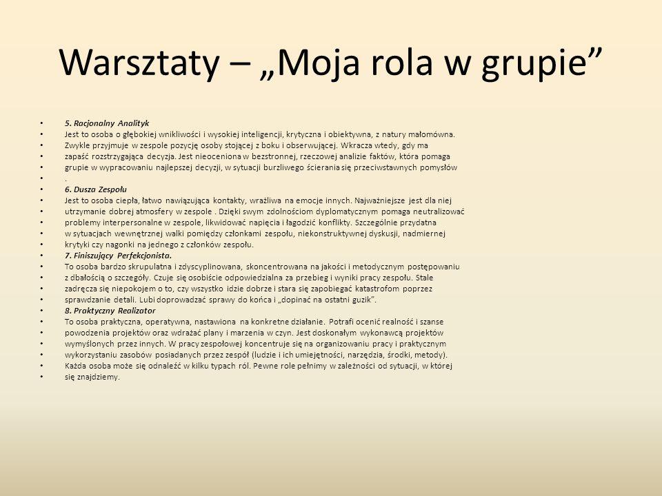"""Warsztaty – """"Moja rola w grupie 5."""