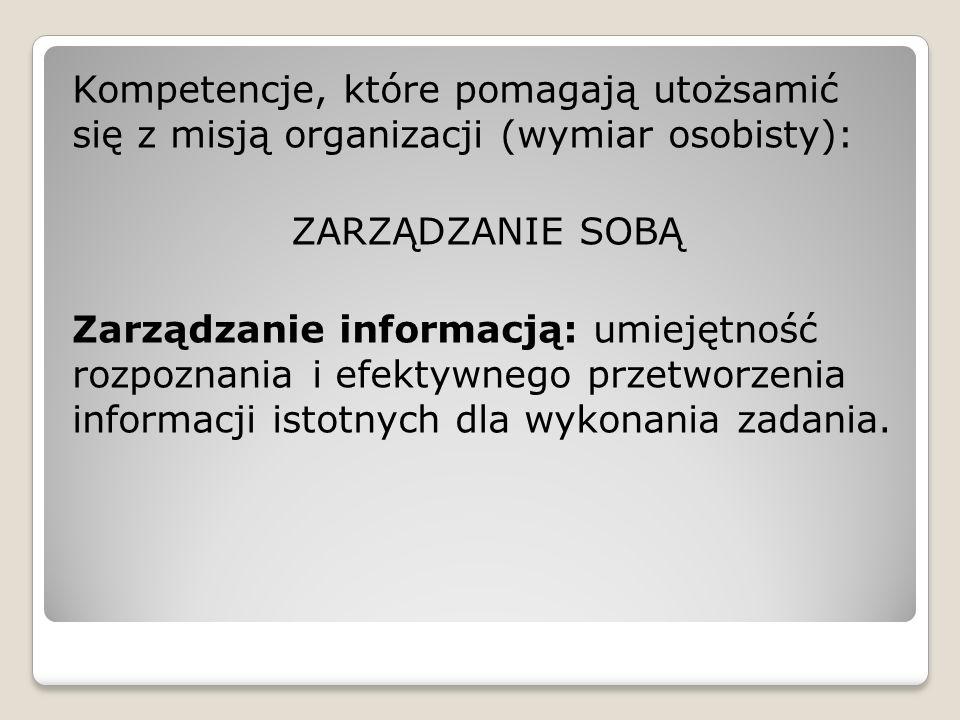 Kompetencje, które pomagają utożsamić się z misją organizacji (wymiar osobisty): ZARZĄDZANIE SOBĄ Zarządzanie informacją: umiejętność rozpoznania i ef