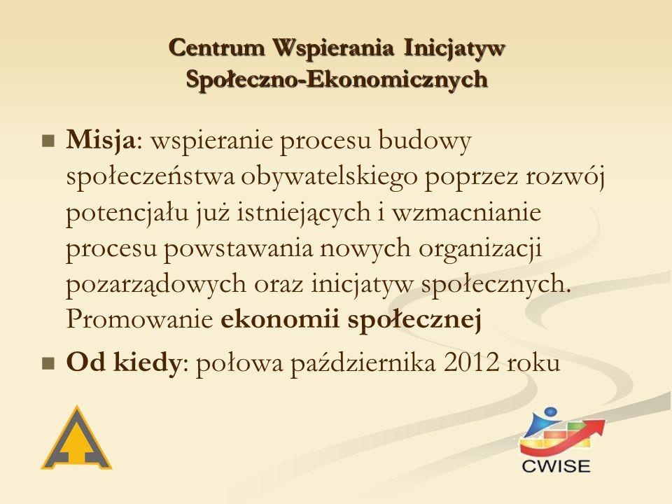 Centrum Wspierania Inicjatyw Społeczno-Ekonomicznych Misja: wspieranie procesu budowy społeczeństwa obywatelskiego poprzez rozwój potencjału już istni