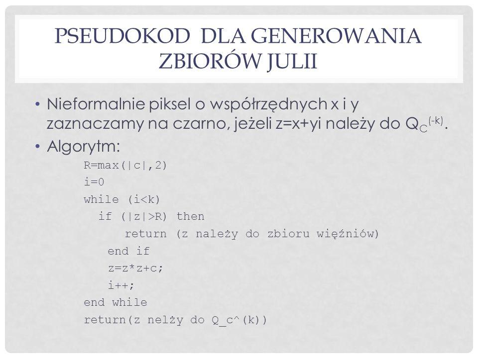 PSEUDOKOD DLA GENEROWANIA ZBIORÓW JULII Nieformalnie piksel o współrzędnych x i y zaznaczamy na czarno, jeżeli z=x+yi należy do Q C (-k).