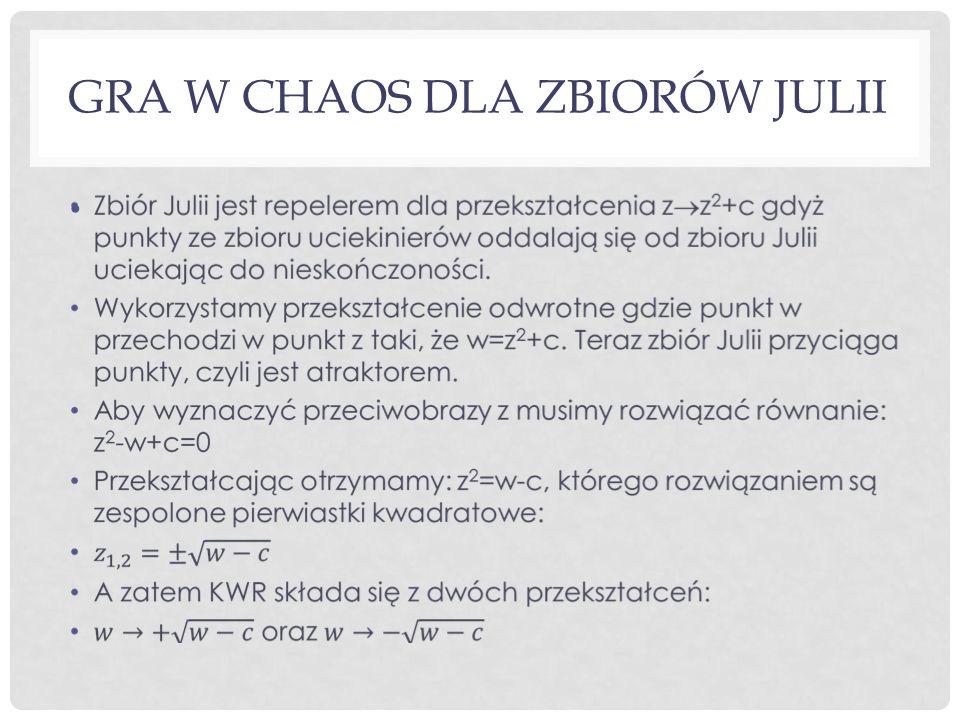 GRA W CHAOS DLA ZBIORÓW JULII
