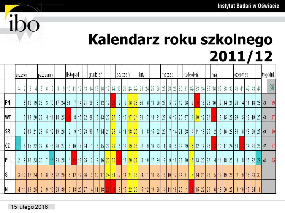15 lutego 2016 Przykładowy kalendarz roku szkolnego 2012/13