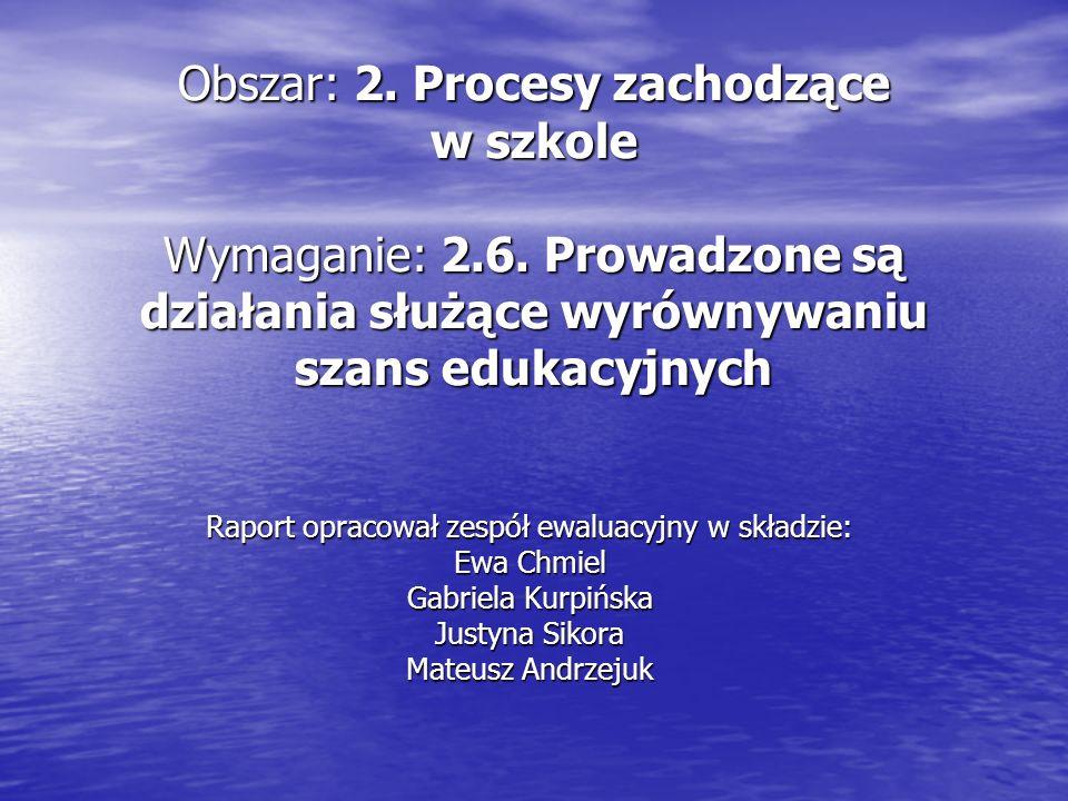 Obszar: 2. Procesy zachodzące w szkole Wymaganie: 2.6.