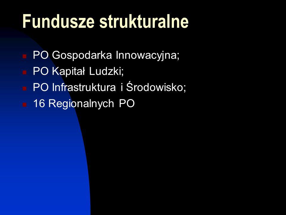 Fundusze strukturalne PO Gospodarka Innowacyjna; PO Kapitał Ludzki; PO Infrastruktura i Środowisko; 16 Regionalnych PO