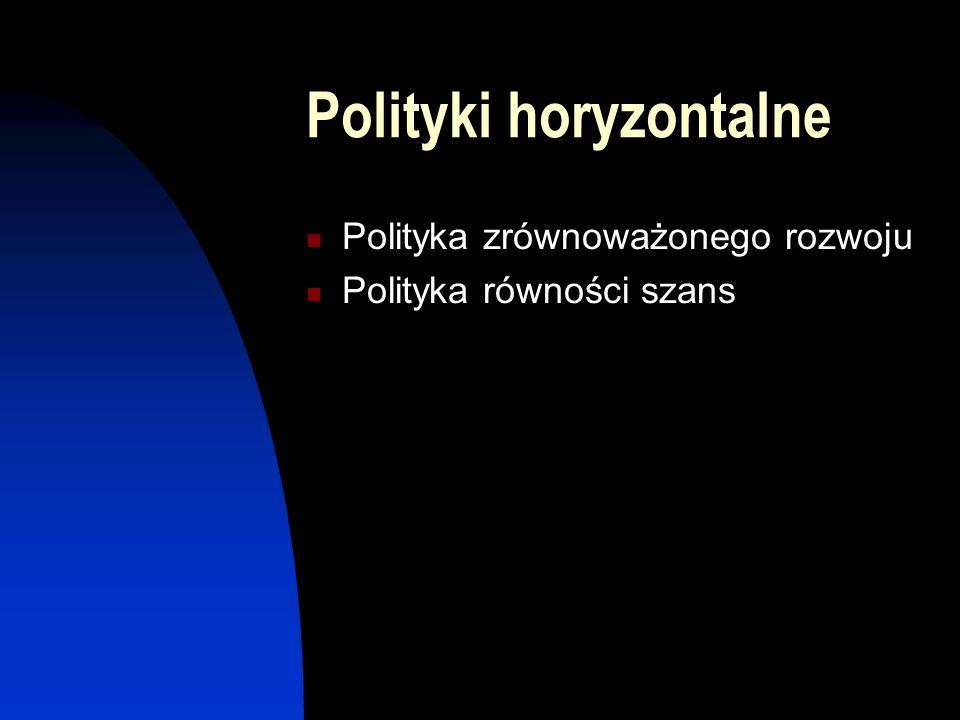 Polityki horyzontalne Polityka zrównoważonego rozwoju Polityka równości szans