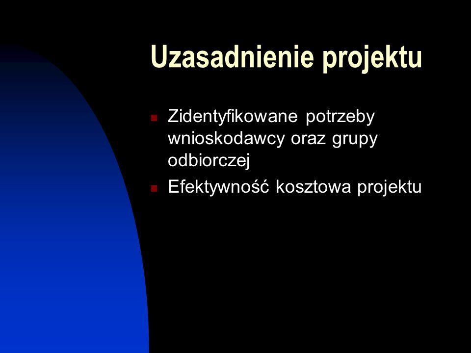 Uzasadnienie projektu Zidentyfikowane potrzeby wnioskodawcy oraz grupy odbiorczej Efektywność kosztowa projektu