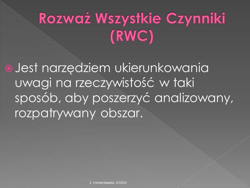 Z. Korzeniewski, DODN  Jest narzędziem ukierunkowania uwagi na rzeczywistość w taki sposób, aby poszerzyć analizowany, rozpatrywany obszar.