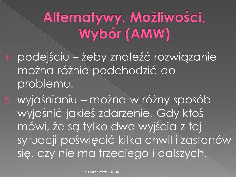 Z. Korzeniewski, DODN 4. podejściu – żeby znaleźć rozwiązanie można różnie podchodzić do problemu.