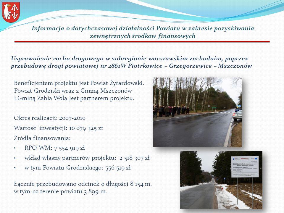 Usprawnienie ruchu drogowego w subregionie warszawskim zachodnim, poprzez przebudowę drogi powiatowej nr 2861W Piotrkowice – Grzegorzewice – Mszczonów Beneficjentem projektu jest Powiat Żyrardowski.