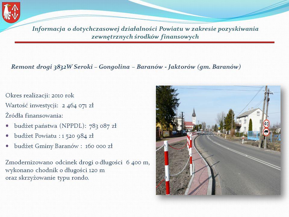 Remont drogi 3832W Seroki – Gongolina – Baranów - Jaktorów (gm.