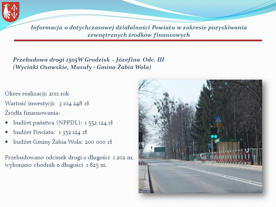 Przebudowa drogi 1505W Grodzisk – Józefina Odc.
