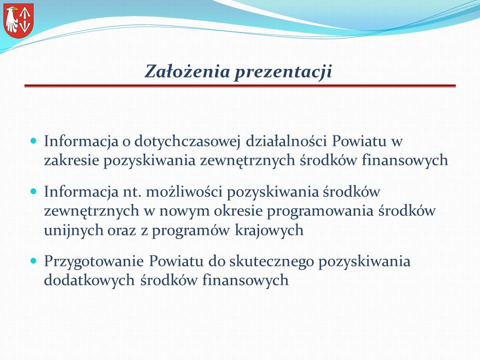 Założenia prezentacji Informacja o dotychczasowej działalności Powiatu w zakresie pozyskiwania zewnętrznych środków finansowych Informacja nt.