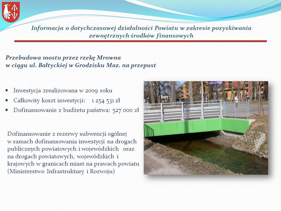 Inwestycja zrealizowana w 2009 roku Całkowity koszt inwestycji: 1 254 531 zł Dofinansowanie z budżetu państwa: 527 000 zł Przebudowa mostu przez rzekę Mrowna w ciągu ul.