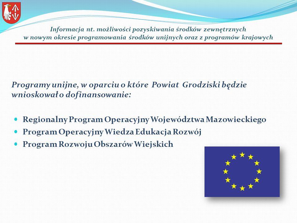 Programy unijne, w oparciu o które Powiat Grodziski będzie wnioskował o dofinansowanie: Regionalny Program Operacyjny Województwa Mazowieckiego Program Operacyjny Wiedza Edukacja Rozwój Program Rozwoju Obszarów Wiejskich Informacja nt.