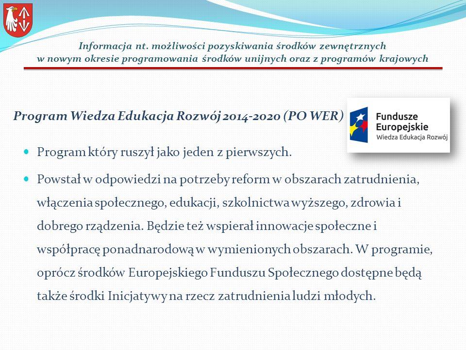 Program Wiedza Edukacja Rozwój 2014-2020 (PO WER) Program który ruszył jako jeden z pierwszych.