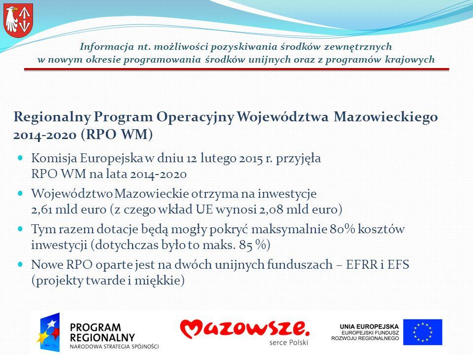 Regionalny Program Operacyjny Województwa Mazowieckiego 2014-2020 (RPO WM) Komisja Europejska w dniu 12 lutego 2015 r.