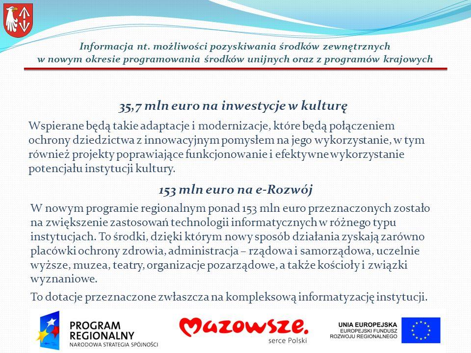 35,7 mln euro na inwestycje w kulturę Wspierane będą takie adaptacje i modernizacje, które będą połączeniem ochrony dziedzictwa z innowacyjnym pomysłem na jego wykorzystanie, w tym również projekty poprawiające funkcjonowanie i efektywne wykorzystanie potencjału instytucji kultury.