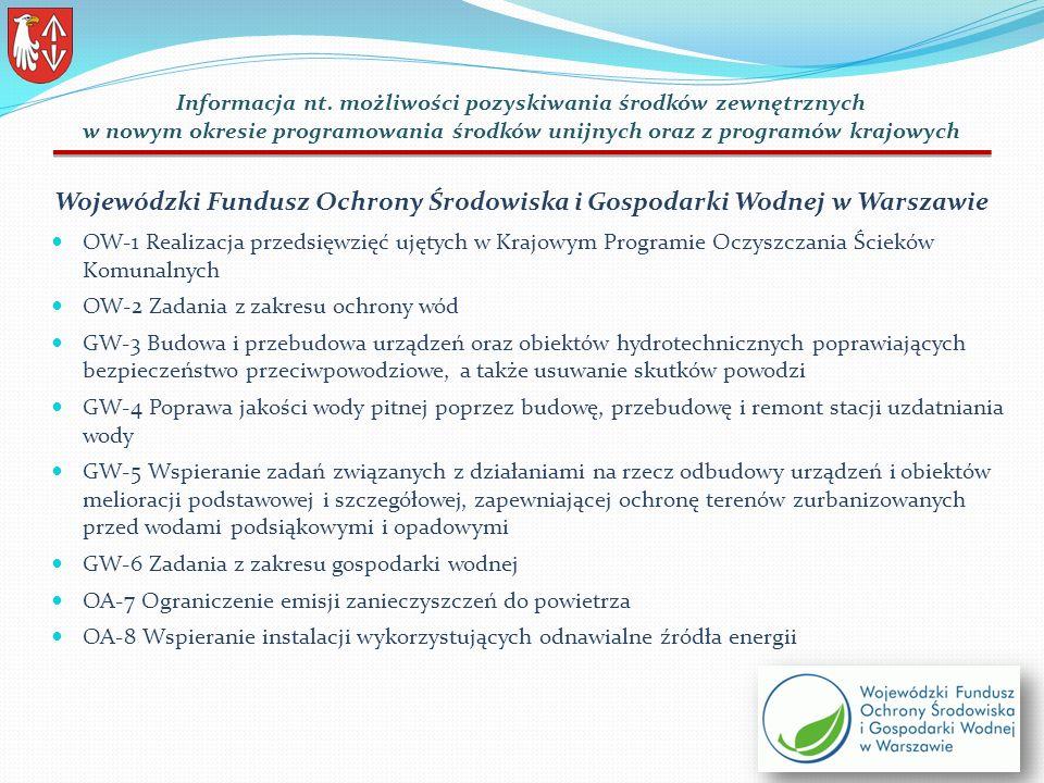 Wojewódzki Fundusz Ochrony Środowiska i Gospodarki Wodnej w Warszawie OW-1 Realizacja przedsięwzięć ujętych w Krajowym Programie Oczyszczania Ścieków Komunalnych OW-2 Zadania z zakresu ochrony wód GW-3 Budowa i przebudowa urządzeń oraz obiektów hydrotechnicznych poprawiających bezpieczeństwo przeciwpowodziowe, a także usuwanie skutków powodzi GW-4 Poprawa jakości wody pitnej poprzez budowę, przebudowę i remont stacji uzdatniania wody GW-5 Wspieranie zadań związanych z działaniami na rzecz odbudowy urządzeń i obiektów melioracji podstawowej i szczegółowej, zapewniającej ochronę terenów zurbanizowanych przed wodami podsiąkowymi i opadowymi GW-6 Zadania z zakresu gospodarki wodnej OA-7 Ograniczenie emisji zanieczyszczeń do powietrza OA-8 Wspieranie instalacji wykorzystujących odnawialne źródła energii Informacja nt.