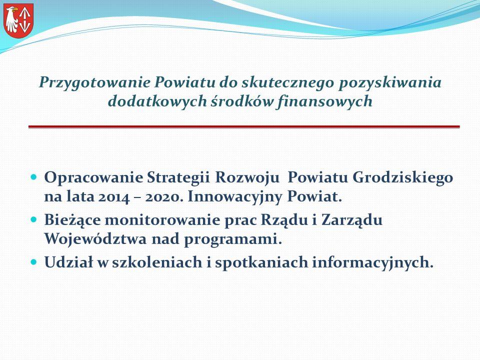 Przygotowanie Powiatu do skutecznego pozyskiwania dodatkowych środków finansowych Opracowanie Strategii Rozwoju Powiatu Grodziskiego na lata 2014 – 2020.